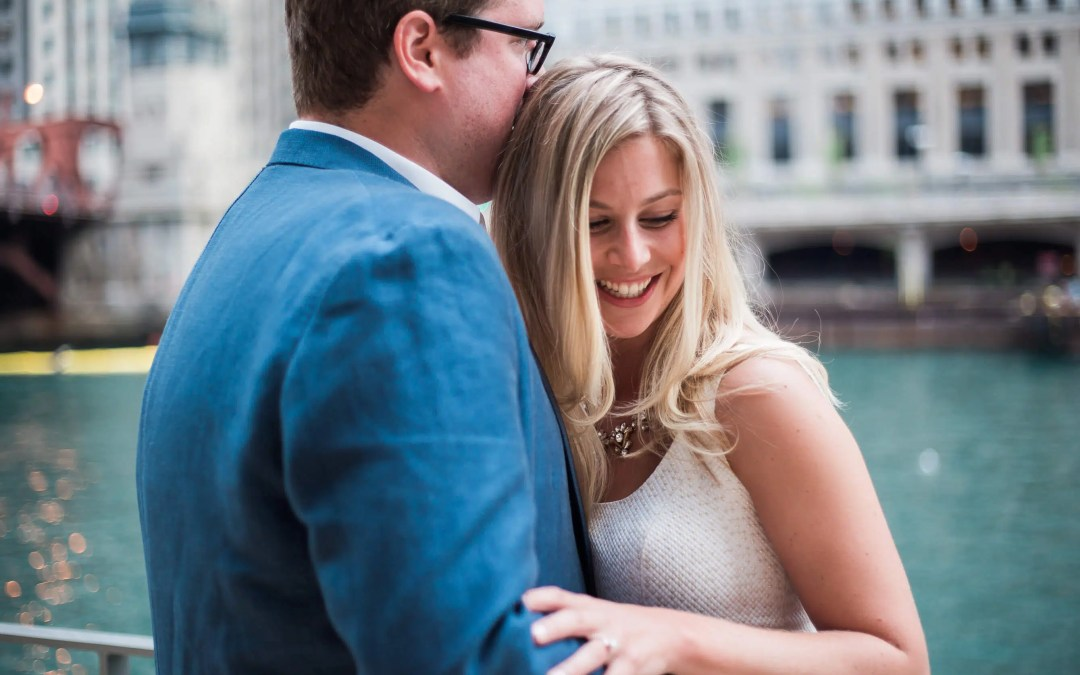 Cafe 300 along Chicago riverfront for engagement shoot - wedding photographer in Brighton
