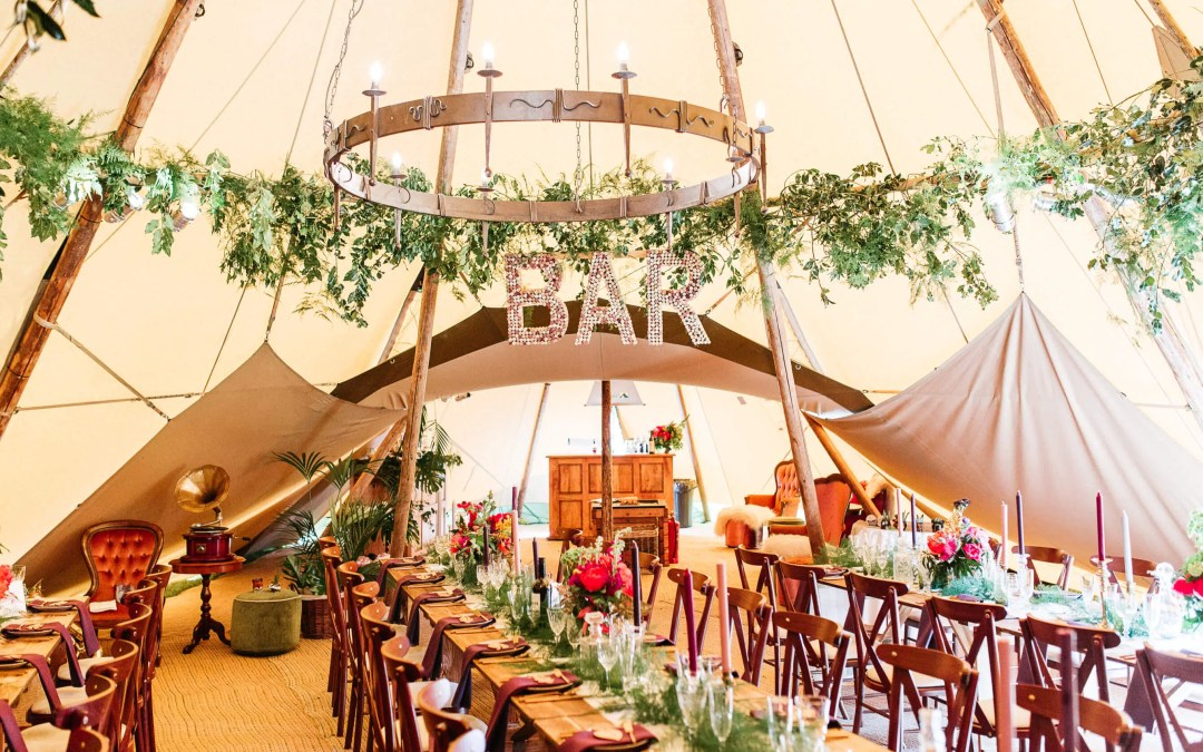 Private estate tipi wedding in Horsham, West Sussex