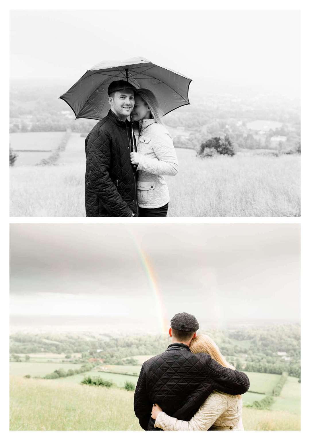 Box Hill engagement photographs with double rainbow | Surrey engagement photographer-
