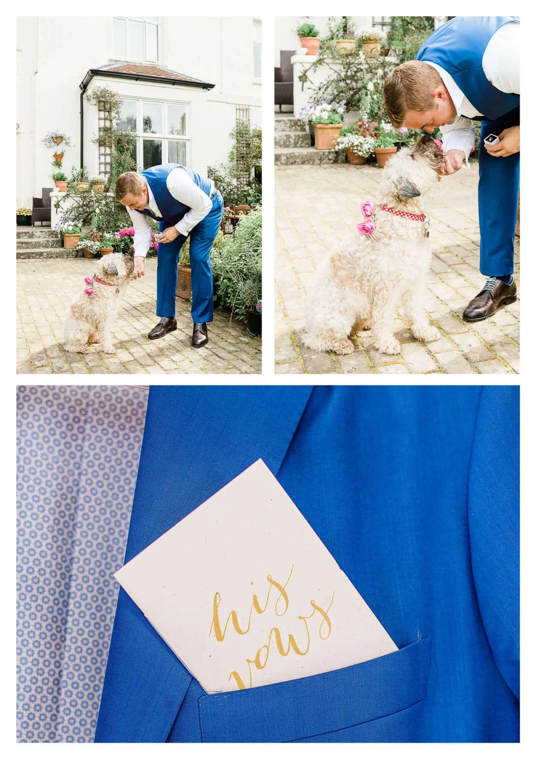 Groom getting ready for wedding with dog | West Sussex Wedding Photographer in East Grinstead