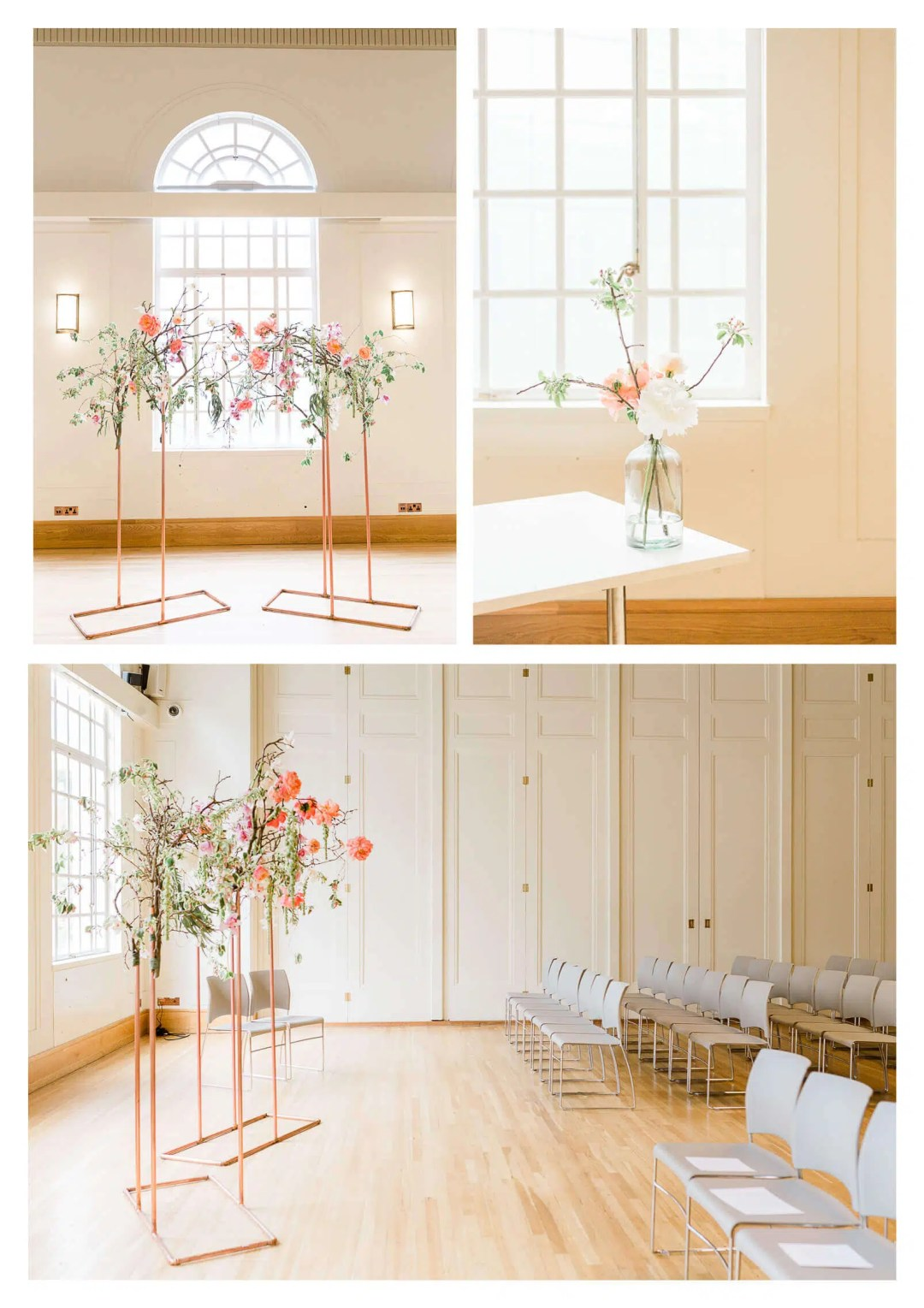 Modern Hackney Town Hall copper and floral alter | London wedding photographer