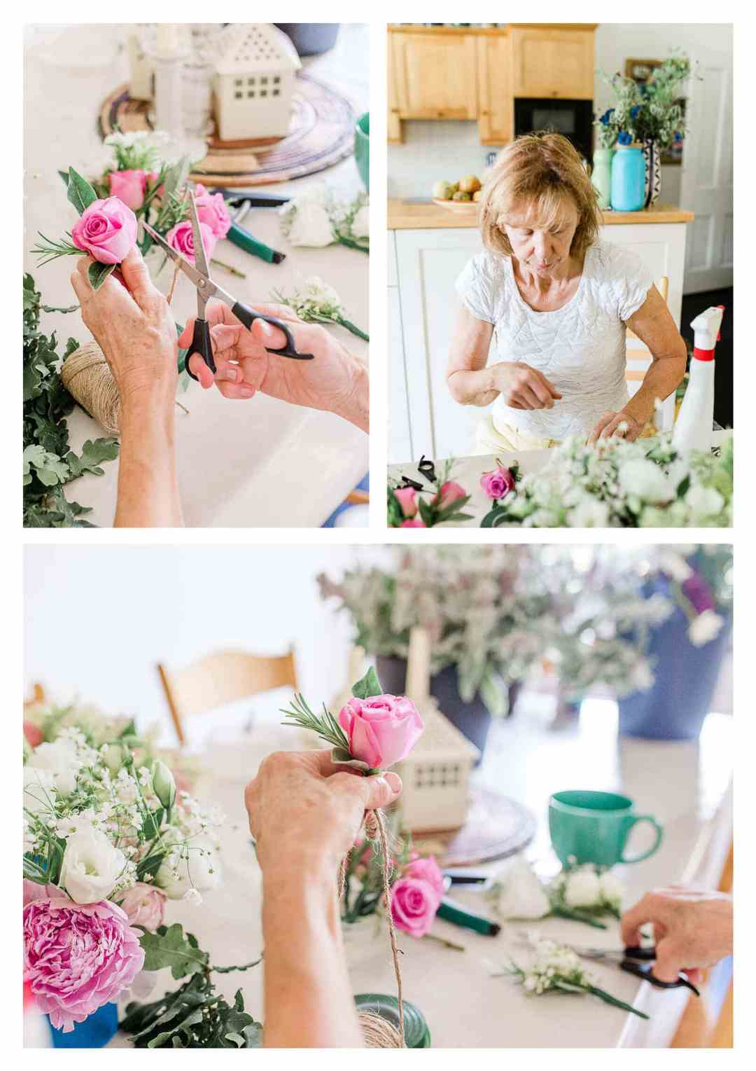 Mother DIY wedding flowers for East Grinstead wedding | West Sussex photographer