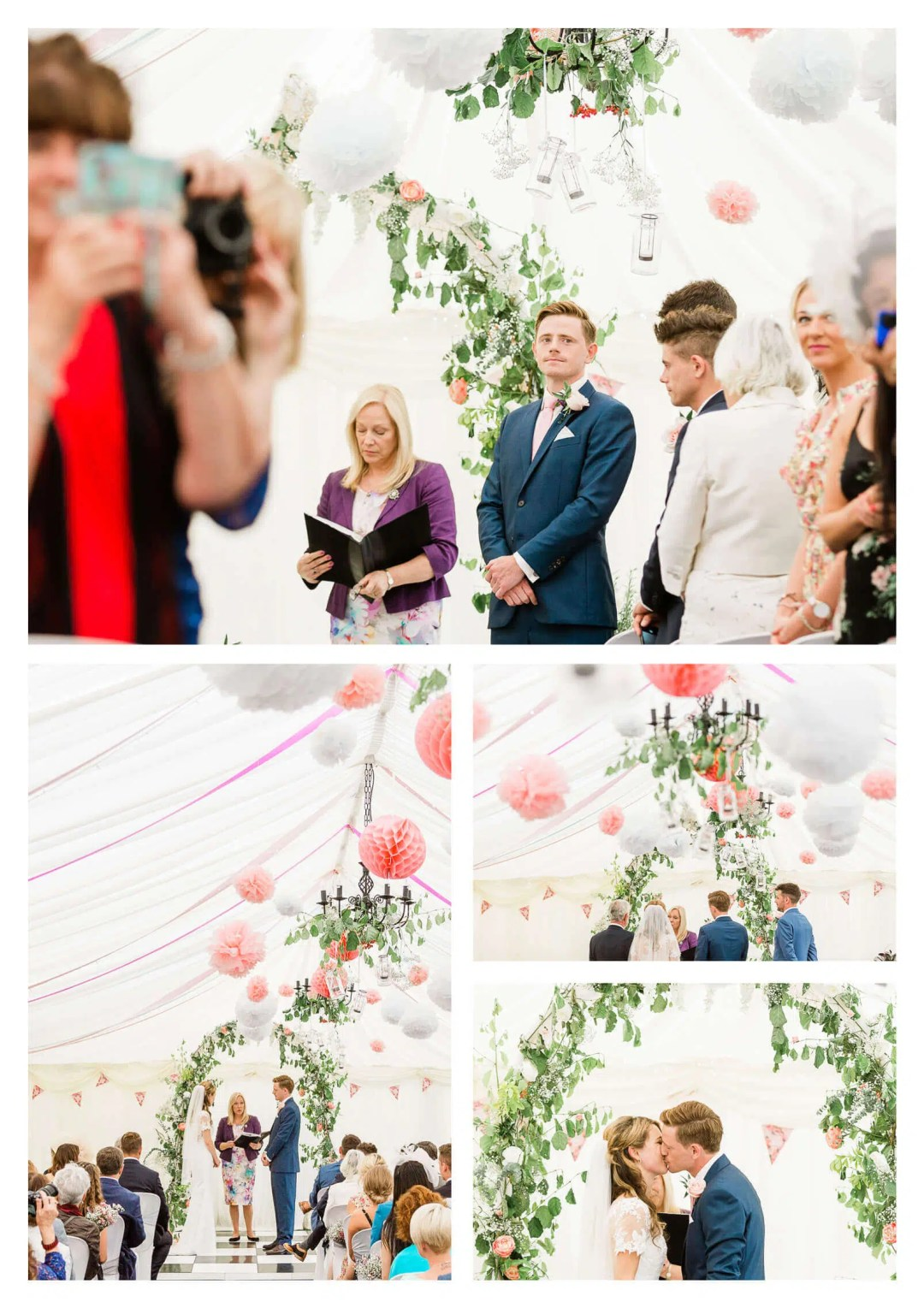 Anchor Inn wedding venue ceremony in marquee | Lewes wedding photographer