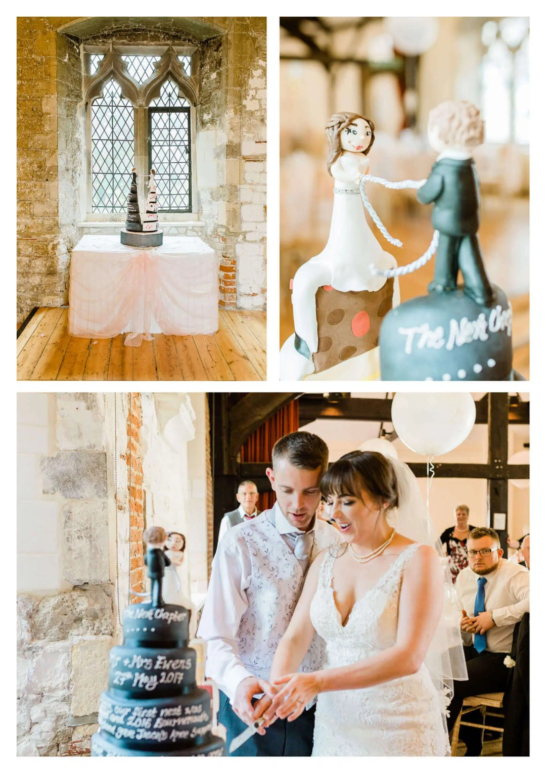 Chichester Cathedral divided black and white cake | West Sussex wedding photographer