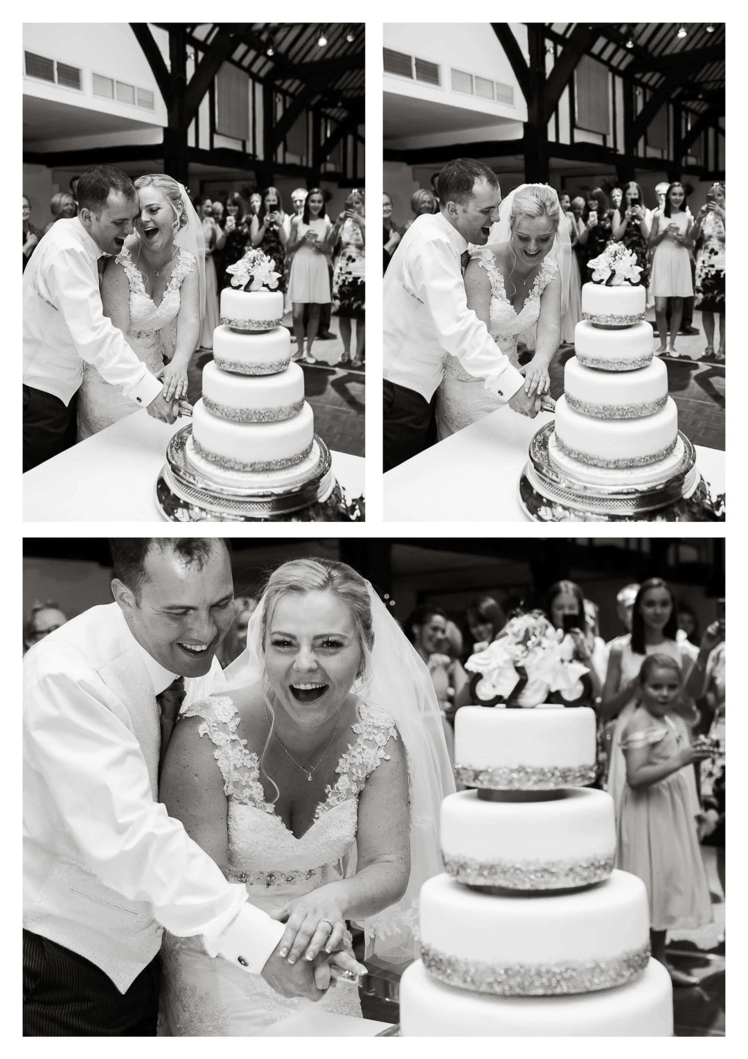 Tithe Barn at Mercure Box Hill Burford Bridge Hotel wedding cake cutting