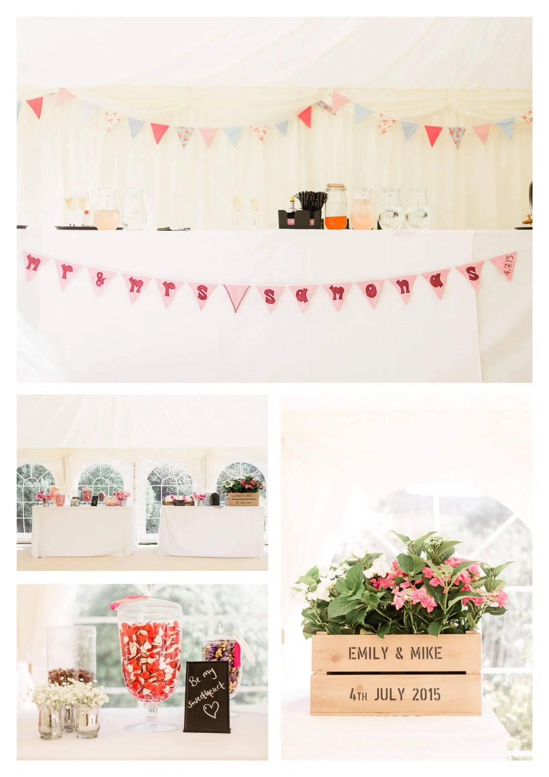 West Sussex marquee drinks and candy bar | West Itchenor wedding photographer-