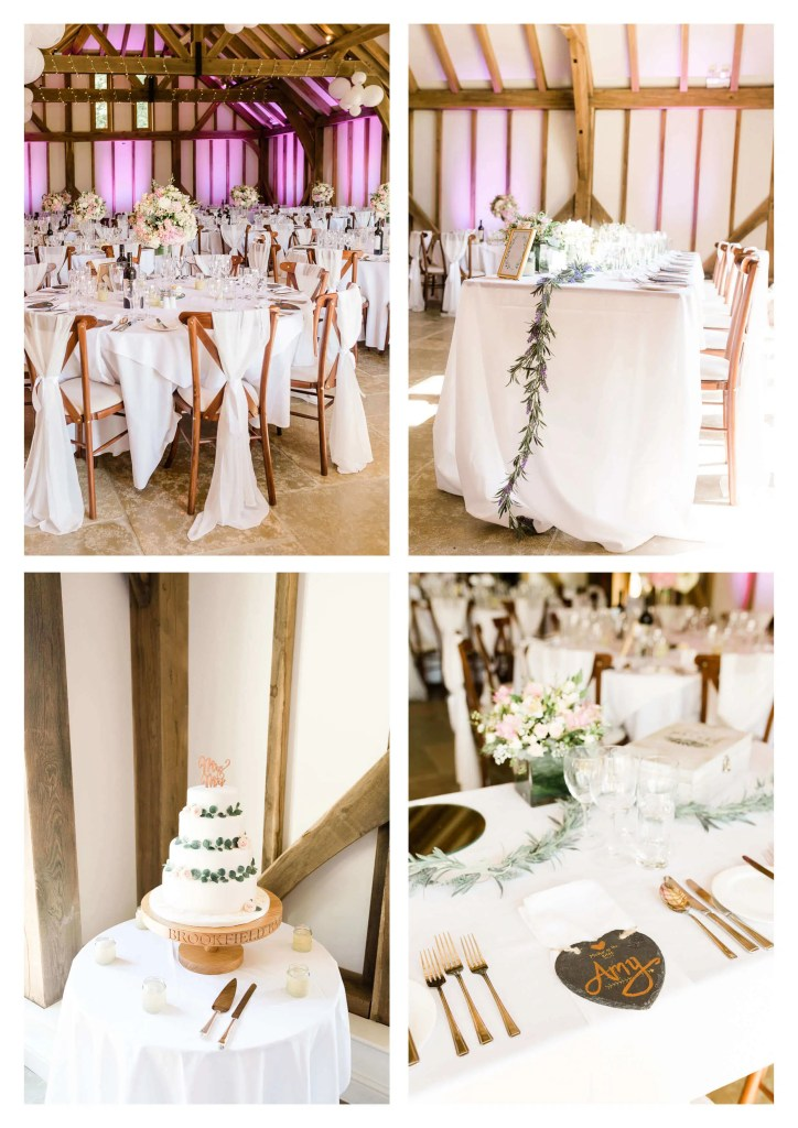 Brookfield Barn wedding reception decorations | Horsham photographer