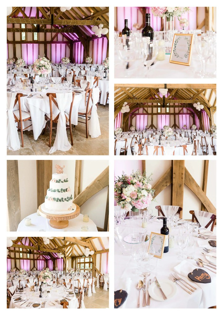 Brookfield Barn wedding photos | Wedding breakfast decor and cake stand