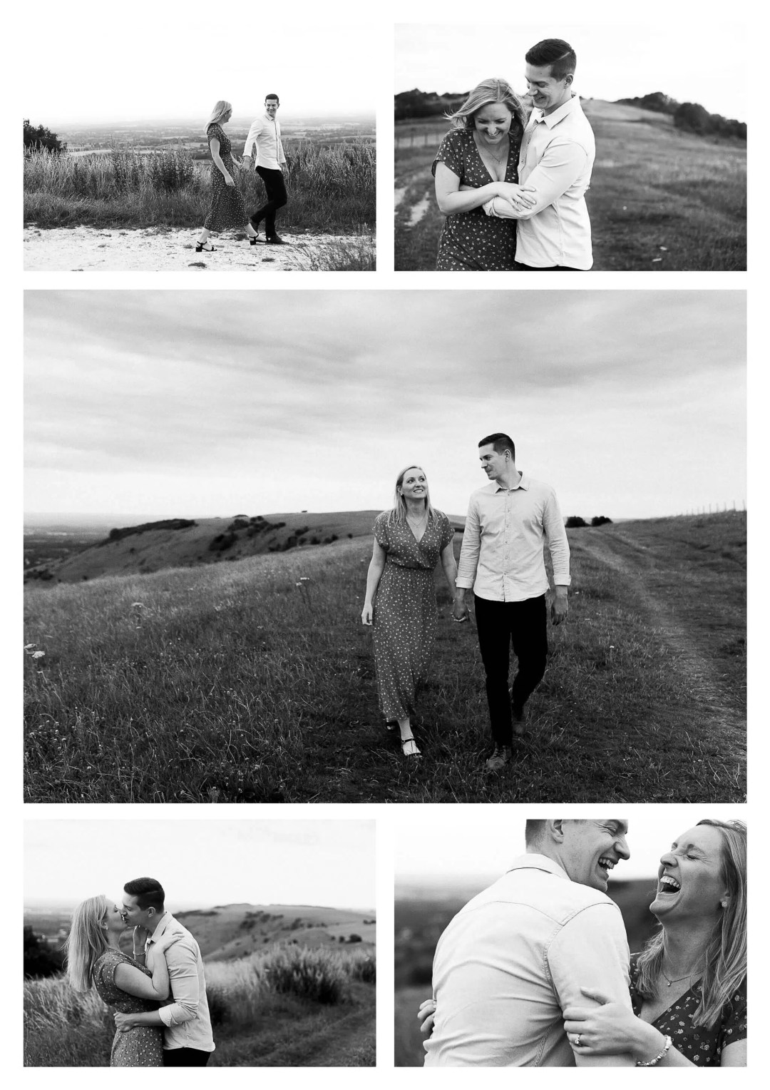 Ditchling Beacon Engagement Photography on South Downs near city of Brighton