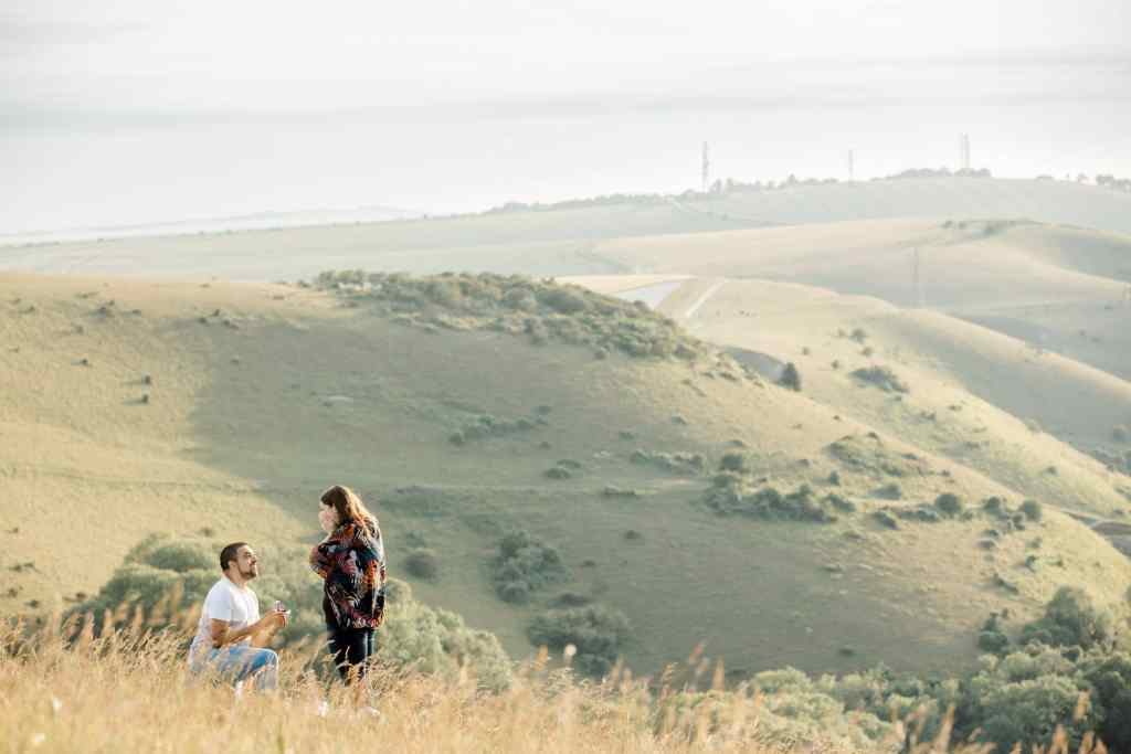 Best places to propose at Devil's Dyke engagement photography