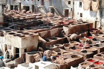 Penyamakan Kulit Alami di Fes, Maroko