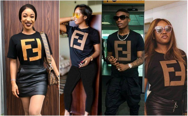 Tonto Dikeh caught rocking a fake Fendi T-shirt?