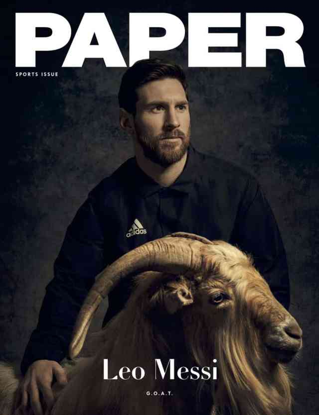 Lionel Messi poses with a goat as he covers PAPER Magazine's first sport issue