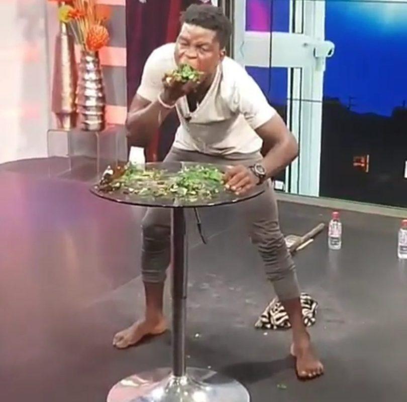 Ghanaian man eats broken bottles