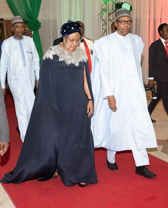 Image result for aisha buhari's N1.5million Cape Dress To Democracy Day Gala Night Breaks The Internet