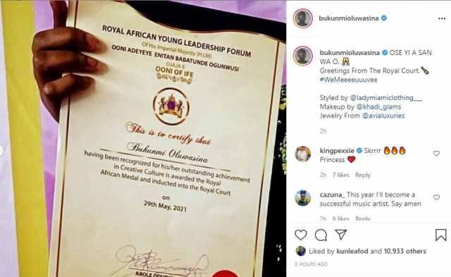 Bukunmi Oluwashina gets outstanding royal recognition