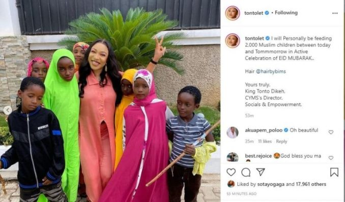 Actress Tonto Dikeh feeds 2000 Muslims on Eid Mubarak celebration