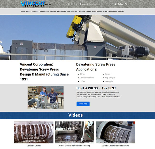 Industrial Manufacturing Website Design for Vincent Corporation features hundreds of articles clean design and search engine friendly videos