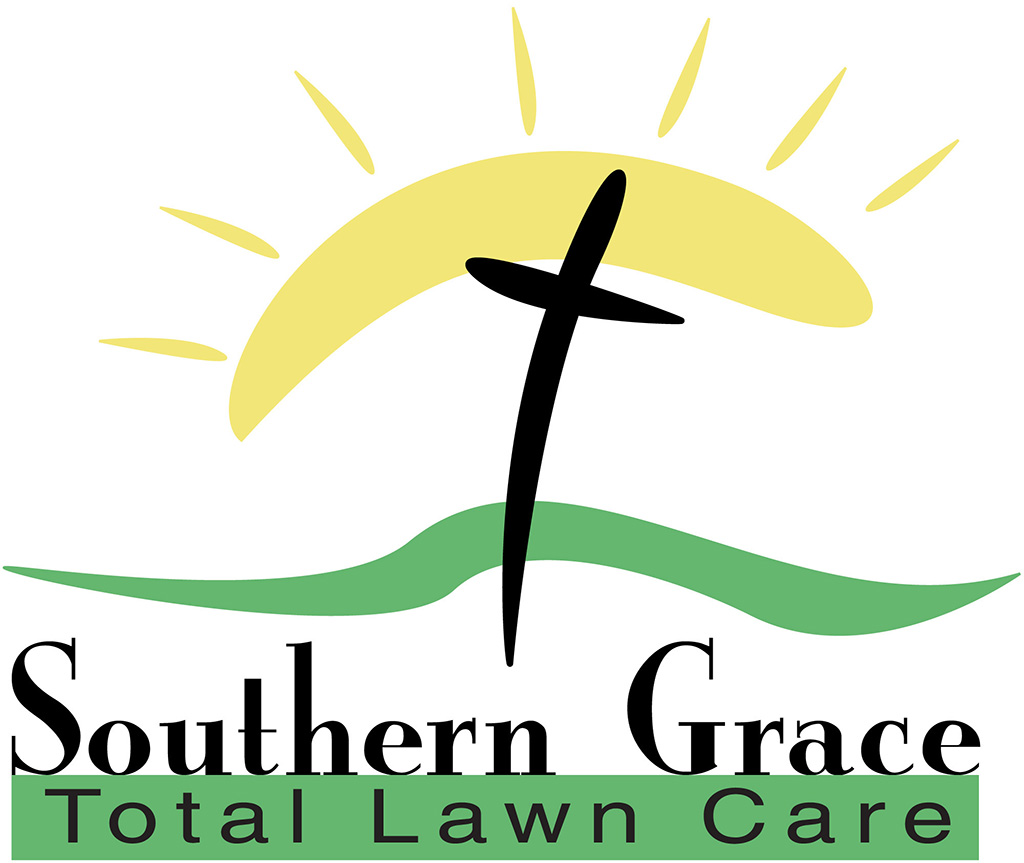 Southern Grace Total Lawn Care Logo designed by Kemp Design Services featuring Sun, cross, and graass