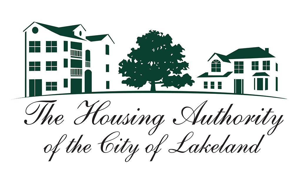Housing Authority of the City of Lakeland Logo designed by Kemp Design Services Features tree, houses, house silhouette, apartment silhouette