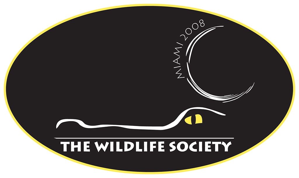 Wildlife Society Conference Logo featuring Moon, Gator, simple stylized logo by Kemp Design Services
