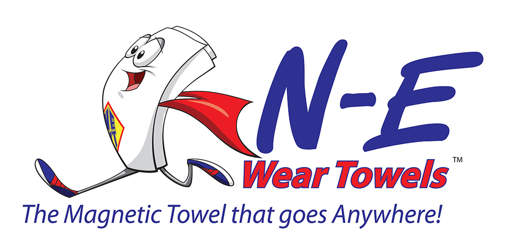 Cartoon Mascot for N - E Wear Towels the magnetic towel that goes anywhere, towel cartoon character. Logo Designed by Kemp Design Services