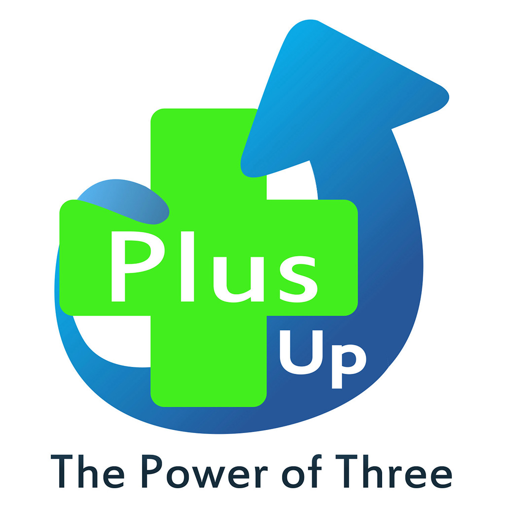 Plus Up Logo designed by Kemp Design Services with Tag Line the Power of Three