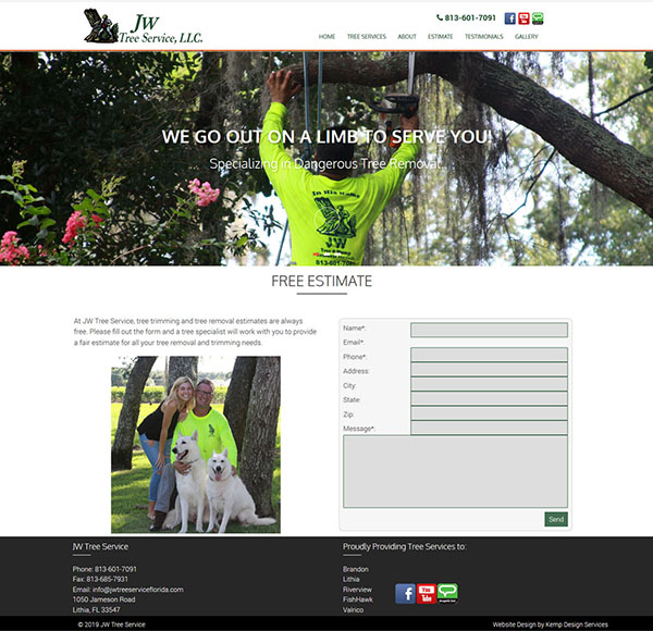 Tree Service Website for JW Tree Service LLC, Tree Trimming Business Website, Service Industry Website