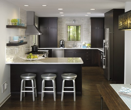 Contemporary Kitchen Cabinets   Kemper Cabinetry     Maple Caprice kitchen cabinets with chocolate finish