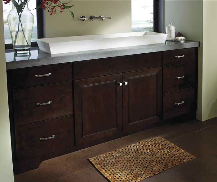 Bathroom With Chocolate Maple Cabinets Kemper Cabinets