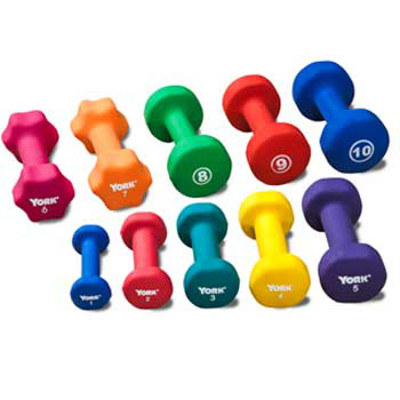 Neoprene Coated Dumbbells - Set of 10 - 1 lb to 10 lbs