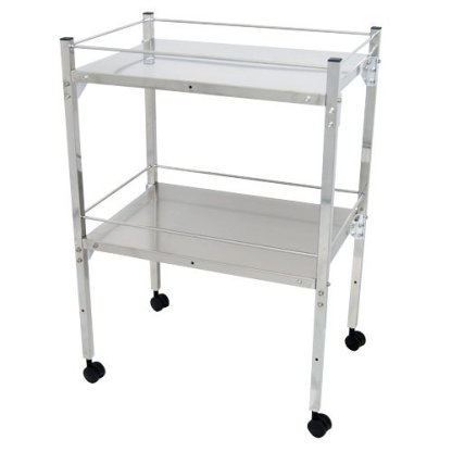 MRI Non-Magnetic Utility Table with Two Shelves and Rails