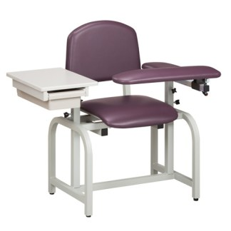 Lab X Series Blood Draw Chair with Padded Flip Arm & Drawer