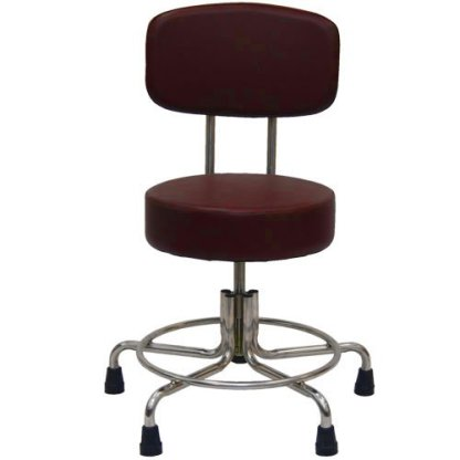 """Non-Magnetic MRI Stool, 15"""" to 21"""" with Rubber Tips & Back - Burgundy"""