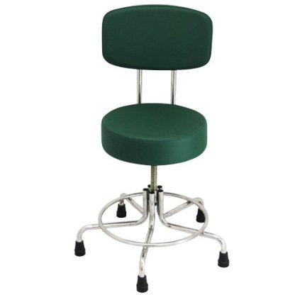 Non-Magnetic MRI Adjustable Stool with Rubber Tips and Back - Green