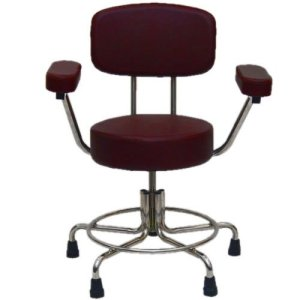 Non-Magnetic MRI Adjustable Stool w/ Rubber Tips, Back & Arms - Burgundy