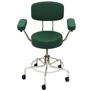 "Non-Magnetic MRI Adjustable Stool, 16"" to 22"" with Back & Arms - Green"