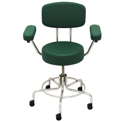 """Non-Magnetic MRI Adjustable Stool, 16"""" to 22"""" with Back & Arms - Green"""