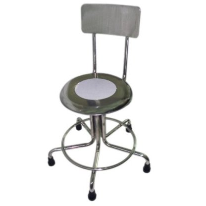 """MRI Non-Magnetic Adjustable Height Doctor Stool, w/Back, 21-27"""""""