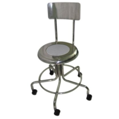 MRI Non-Magnetic Adj Height Doctor Stool, w/ Back and Casters