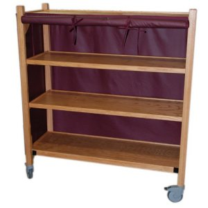 MRI Non-Magnetic Oak Coil Cart with Four Shelves