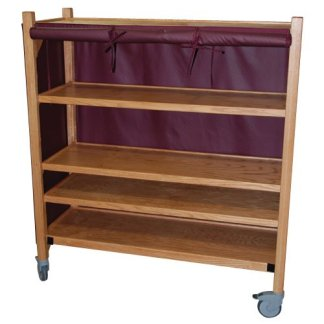 MRI Non-Magnetic Oak Coil Cart with Five Shelves