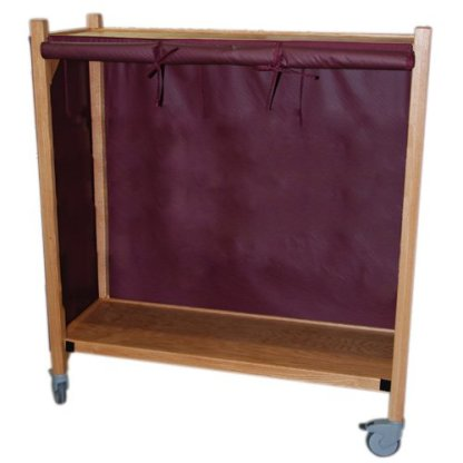 MRI Non-Magnetic Oak Coil Cart with Two Shelves
