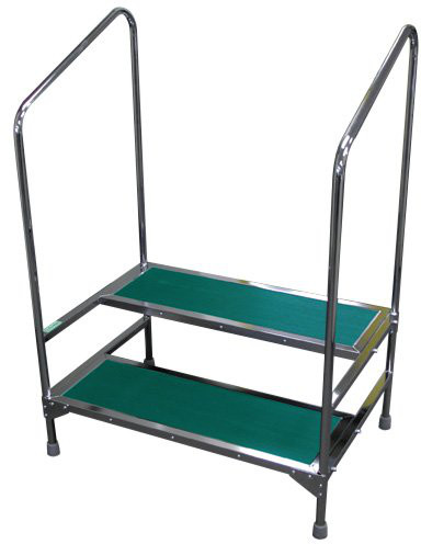 """MRI Non-Magnetic Double Step Stool with 41"""" Handrails"""