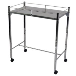 MRI Non-Magnetic Utility Table with Top Shelf and Rails