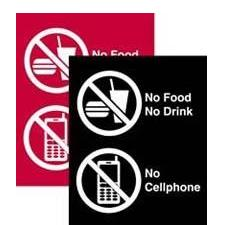 No Food/Drink/Cell Phone Sign