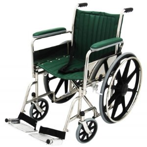 """MRI Wheel Chair 18"""" with Removable Arms and Fixed Footrests - Green"""