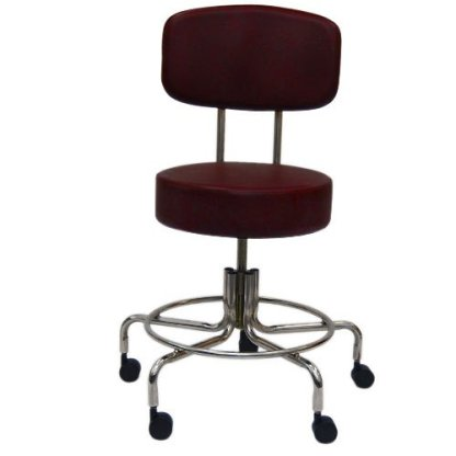 "Non-Magnetic MRI Adjustable Stool, 16"" to 22"" with Back - Burgundy"