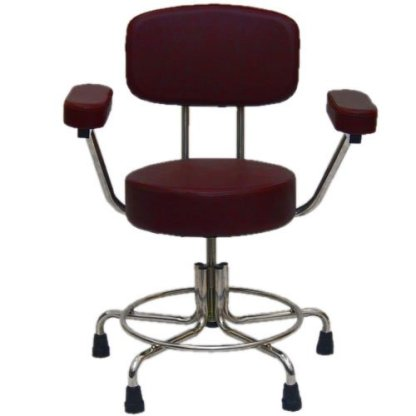 Non-Magnetic MRI Stool with Rubber Tips, Back and Arms - Burgundy