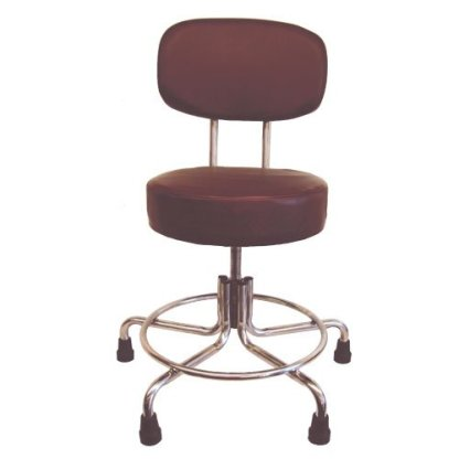 Non-Magnetic MRI Adjustable Stool with Rubber Tips and Back - Burgundy